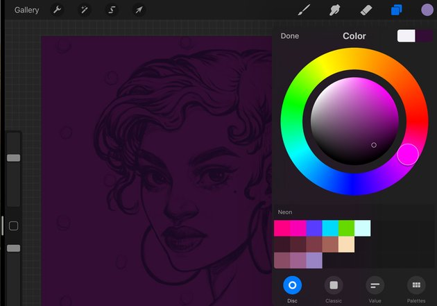 Neon Portrait Procreate Digital Drawing Tutorial choose a background color