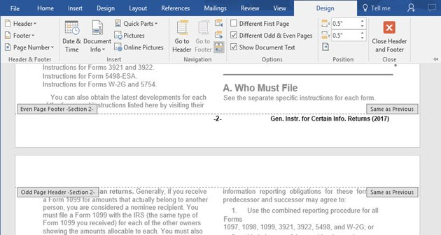 Word Document sections in an imported PDF