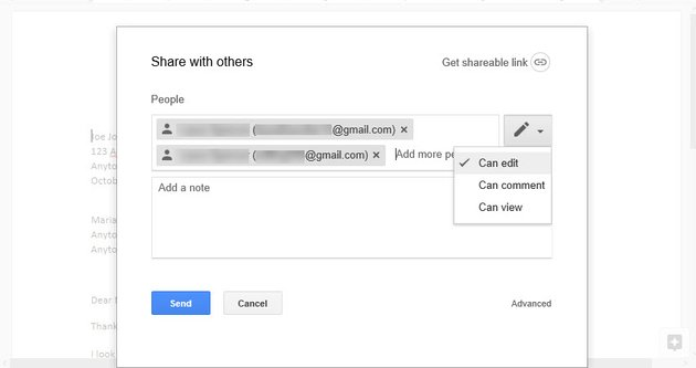 Change collaborator options while inviting people in Google Docs