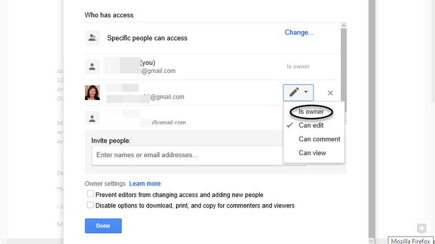 Change document ownership in Google Docs
