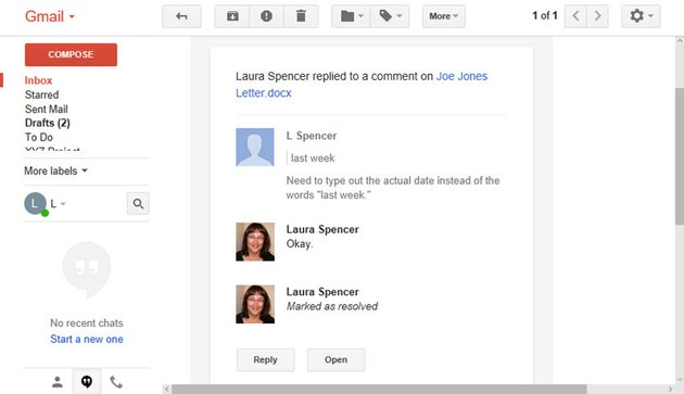 View the Notification email in shared Google docs