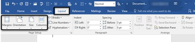 Page Orientation and Size in Word