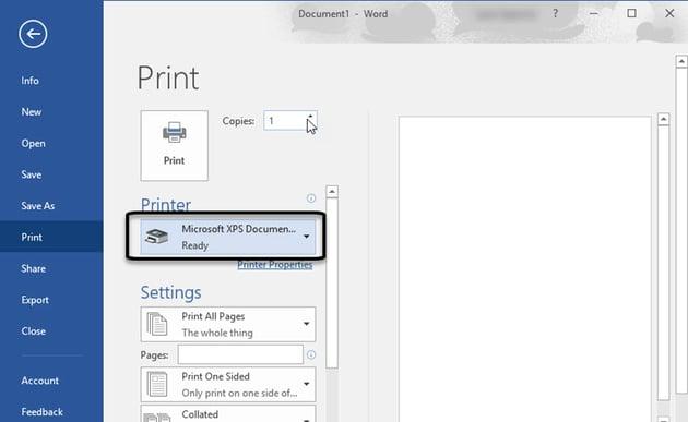 Microsoft XPS Document Writer