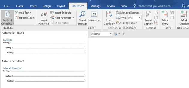 Choosing a built-in table of contents in Word
