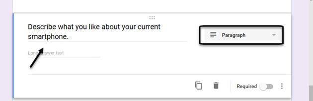 Google Forms survey example Paragraph question
