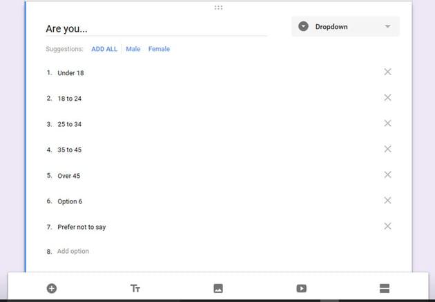 Google Forms survey example Dropdown question
