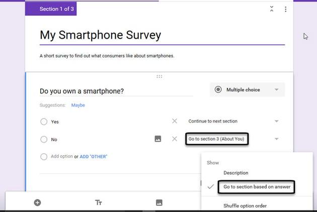 Designing a Google Forms responsive survey