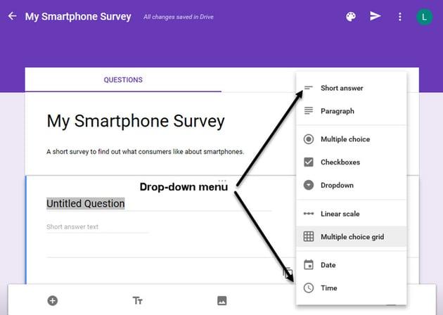Question Type drop-down menu