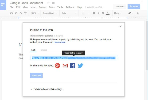 Publish to Web with Embed Link