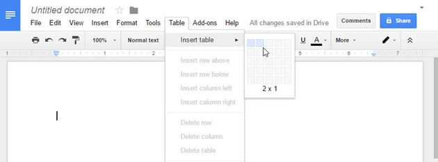 Inserting a new table to start your Google docs resume