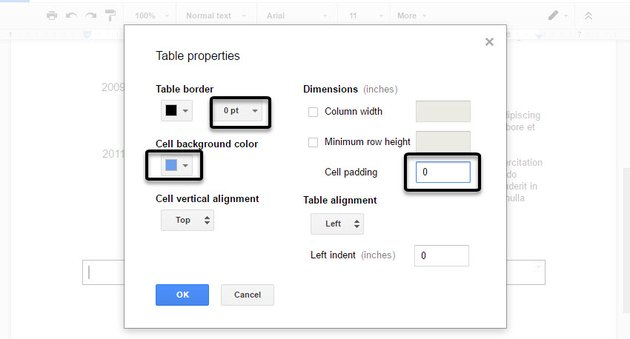 Setting various properties for the table