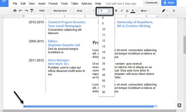 Changing the font size to change the table height