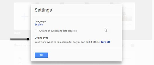 The Settings box to turn on Offline sync