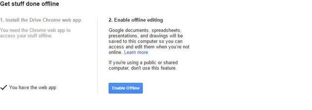 Enable offline Google Docs