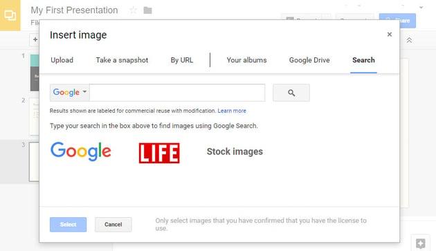 The Insert image panel in Google Slides