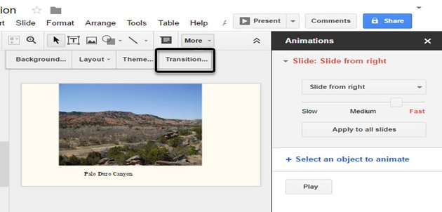 Click Transition to add transitions between slides