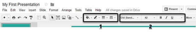 How to Use Google Slides Toolbar formatting functions