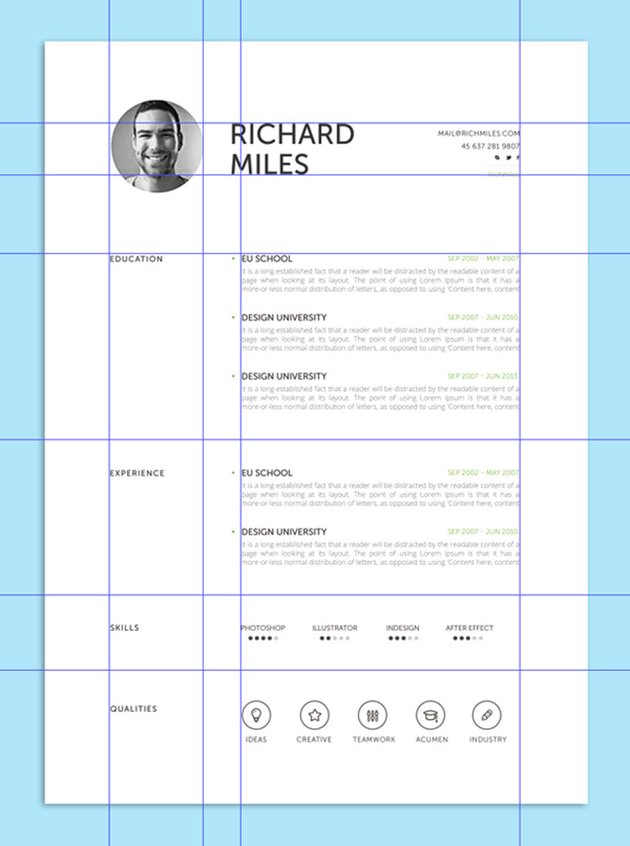 resume with grid