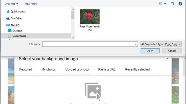 File upload window