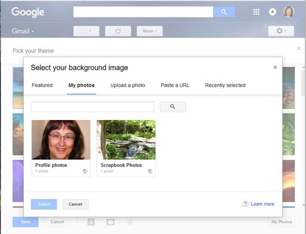 Gmail My Photos background image