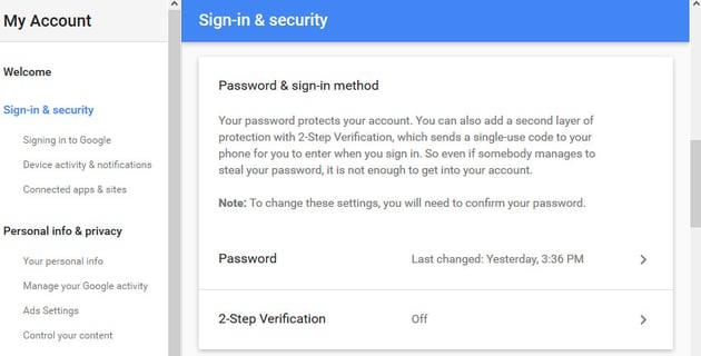 2-Step Verification field