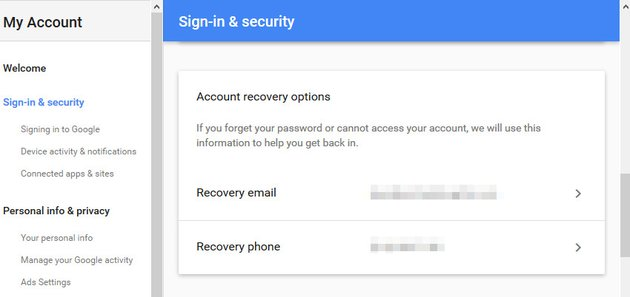 Account recovery options