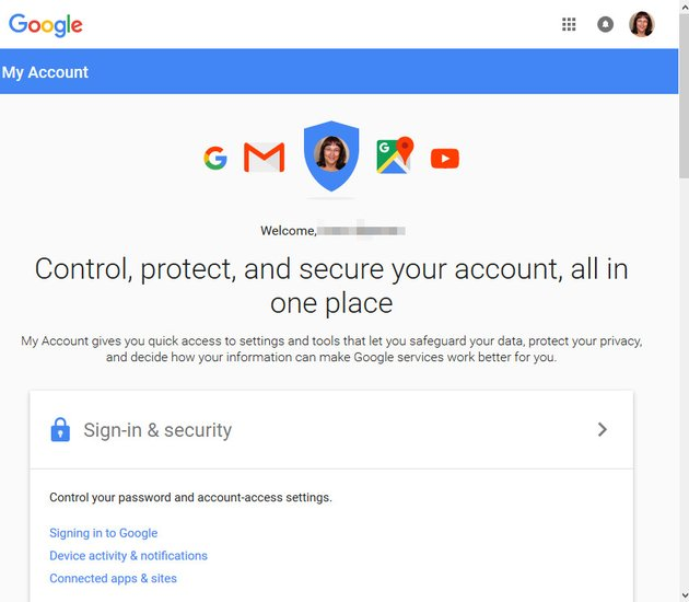 Gmail My Account screen