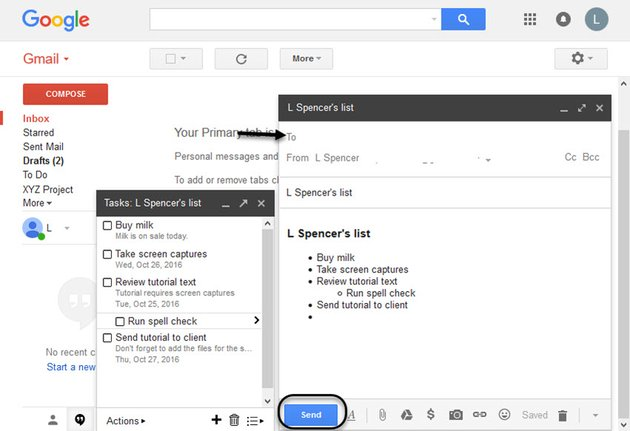 New email message with task list