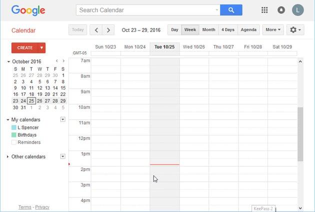The main Google Calendar window