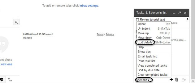 Edit details option on the Action menu