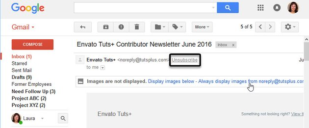 Unsubscribe link at top of Gmail
