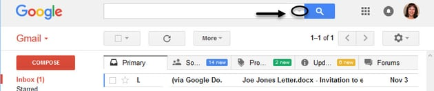 Down arrow in search bar in Gmail