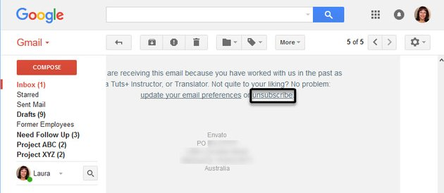 Unsubscribe link emal newsletter example
