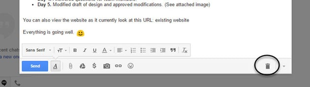 Trash icon in Gmail