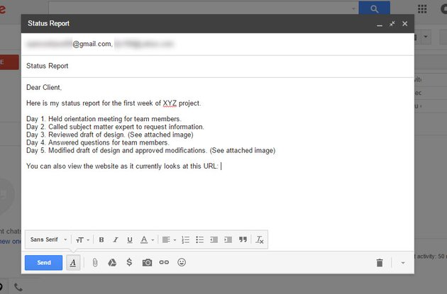 Gmail message body text