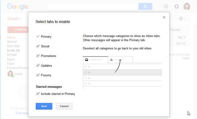Select tabs to enable window