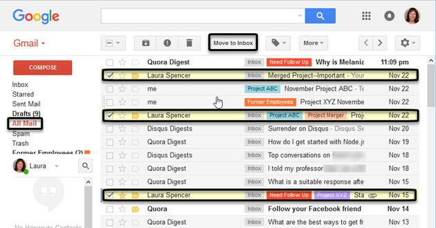 Finding an archived message in All Mail