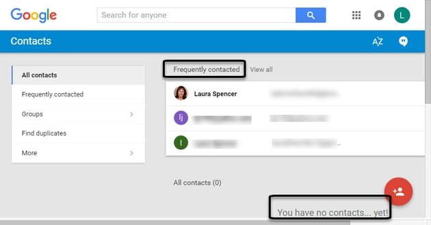 Google Contacts window