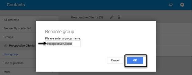Renaming a Gmail group