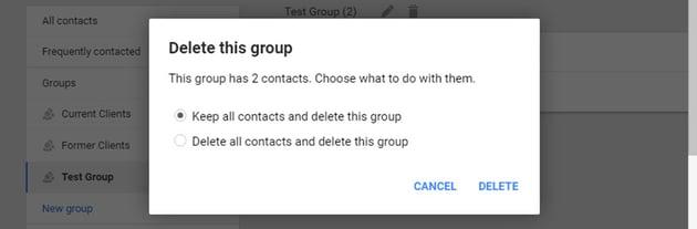 Delete group pop-up