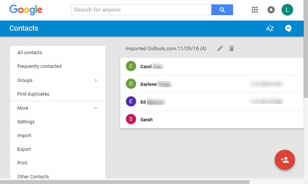 List of contacts imported from Outlook