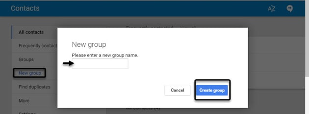 Adding a new contact group