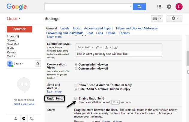 Gmail Settings window undo send