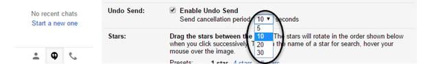 Cancellation period drop-down menu