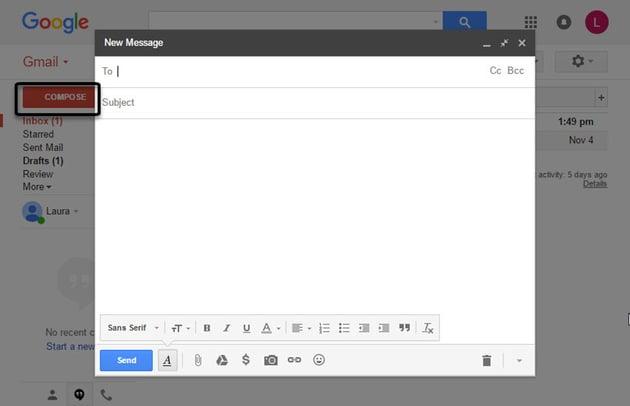 New Gmail Message box