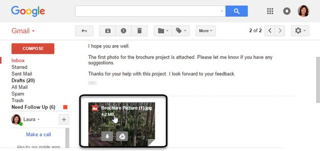 Gmail message with Gmail attachment
