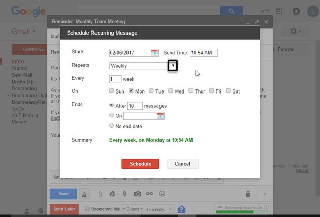 The Schedule Recurring Message dialog box