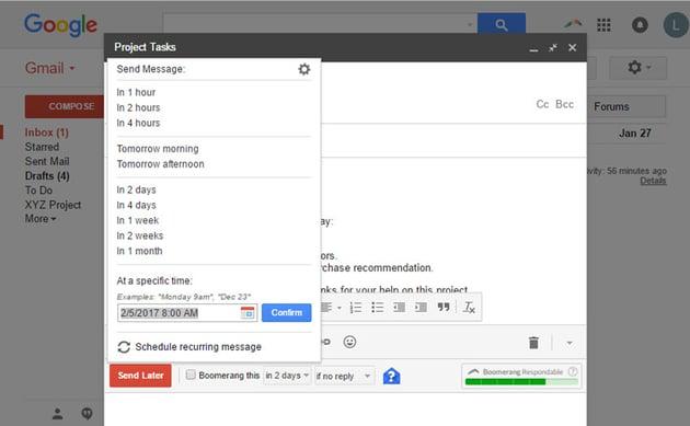 Boomerang for Gmail drop-down scheduling menu