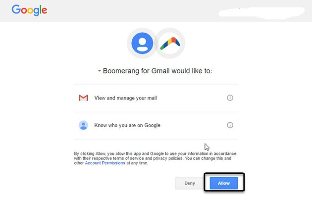 Boomerang for Gmail Permissions screen