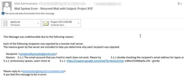 Undeliverable email message